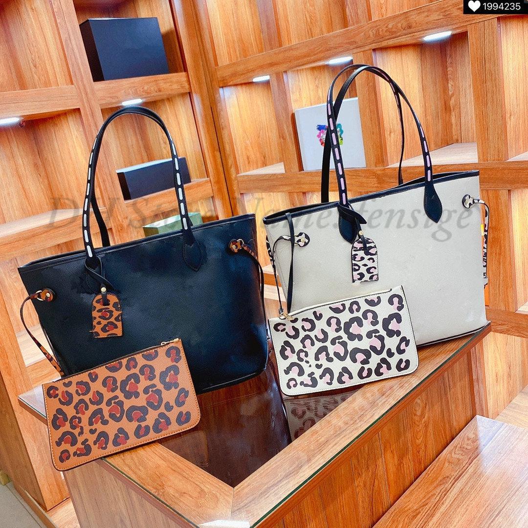 Leopard MM PM حمل حقيبة يد جلدية المرأة محفظة حقائب اليد مع الحقيبة محفظة أكياس الشاطئ مركب تسوق مخلب البرية في قلب كبسولة قماش حقيبة