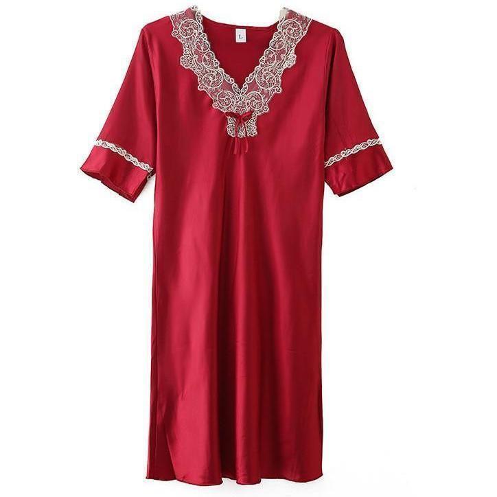 Damen Nachtwäsche Burgund Spitze Nachtwäsche Frühling Sommer V-ausschnitt Sexy Nachthemd Satin Frauen Seidige Kimono Robe Intime Wäsche Homewear