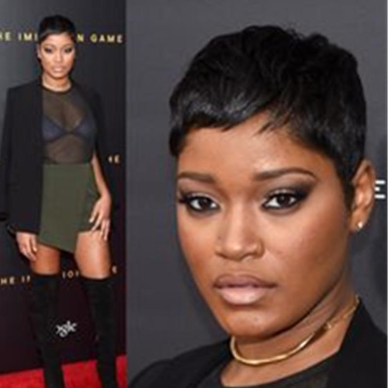 Yok Dantel İnsan Kısa Saç Peruk Siyah Kadınlar Için Brezilyalı Virgin Pixiw Kesim Doğal Renk Bob Peruk