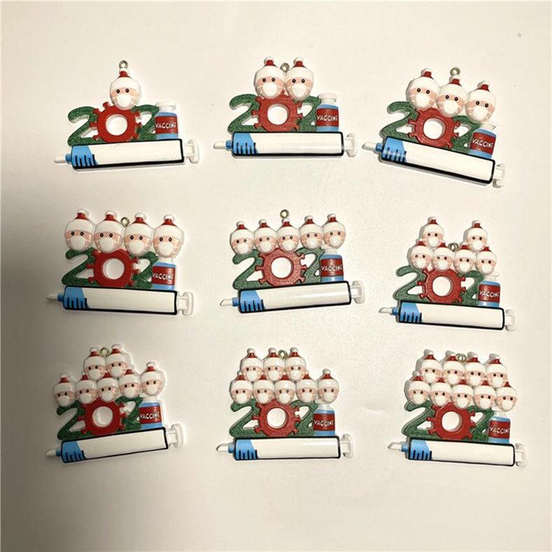 DHL 2021 Decoración navideña adornos de cuarentena Familia de 1-9 cabezas DIY Árbol Accesorios colgantes con cuerda