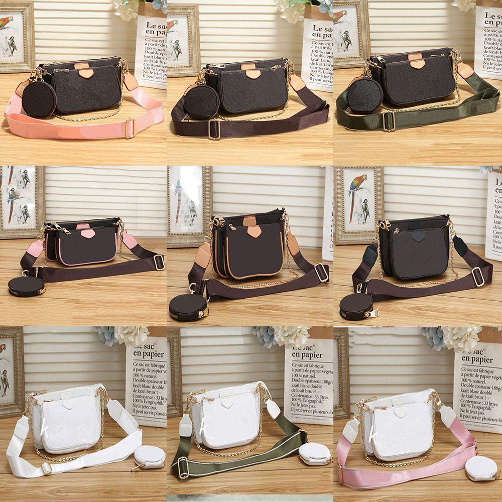 2021 Mulheres Luxurys Designers Sacos Womens Crossbody Bag Bolsas Genuinas Bolsas Bolsas Senhora Tote Moeda Bolsa Três Item # 8811