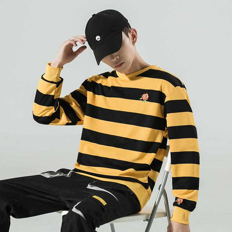 2021 Spring New Striped Sweater Men's Youth Trend Coat Loose Long Sleeve T-shirt Wear