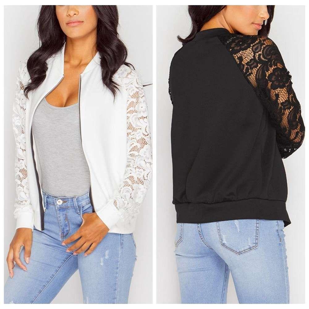 Giyim Bayan Tasarımcı Ceketler İlkbahar ve Sonbahar Zip Boyun Giyim Uzun Kollu Dantel Panelli Kadın Streetwear