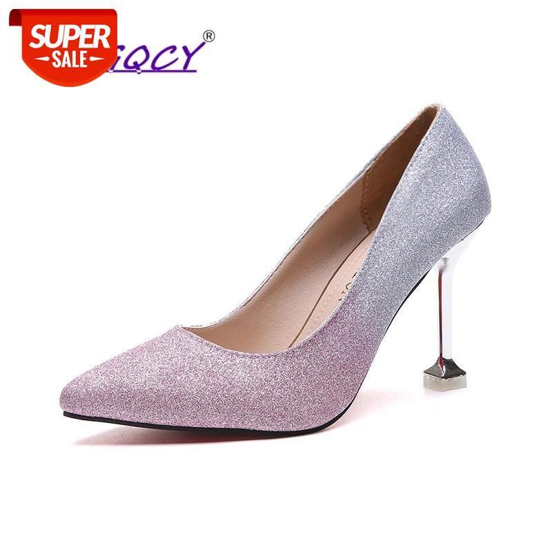Women 9cm Thin High Heels Sexy Glitter Bright Scarpins Pumps Female Stiletto Wedding Bridal Mixed Colors Red Valentine Shoes #Tt7M