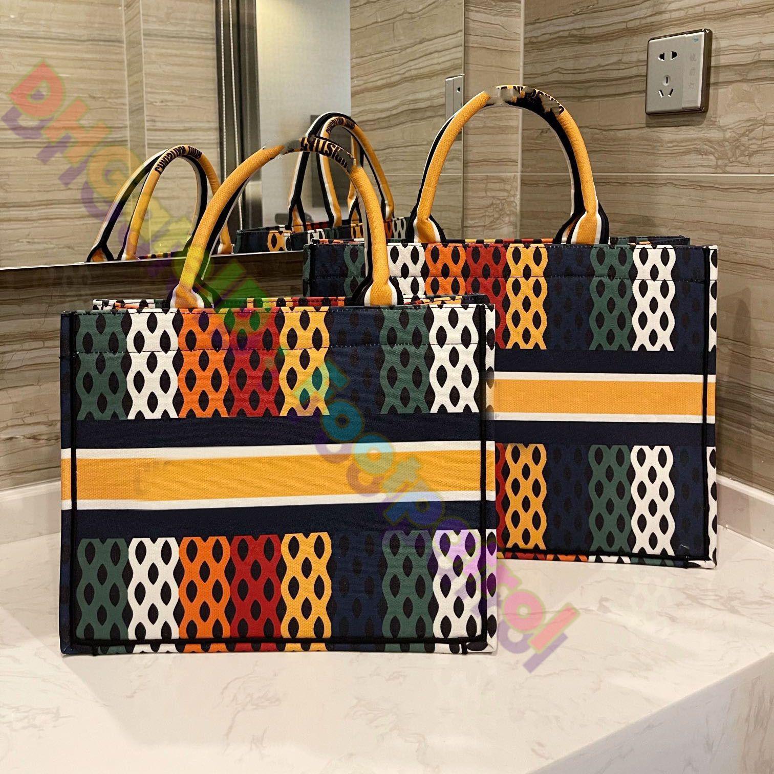 2021 GRANDE Capacità Shopping Bags Fashion Donne Donne Vintage Totes Borsa Hobos Ladies Borse classiche Borse Casual Pisette Stampa Multicolor Borsa frizione Borsa Borsetta