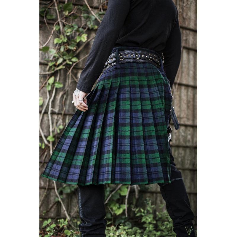 WEPBEL PLEATING 패션 캐주얼 Culottes 남자 바지 레트로 중반 하카마 바지 스코틀랜드 격자 무늬 대조 스커트 남자
