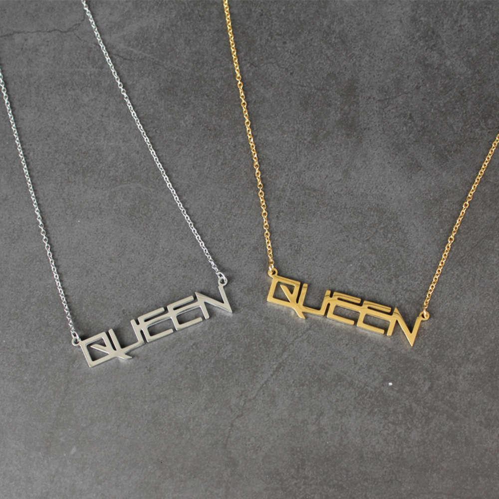 Halskette Sonstiges Titanium Brief Damen Königin Anhänger Gold Silber Edelstahl Schmuck