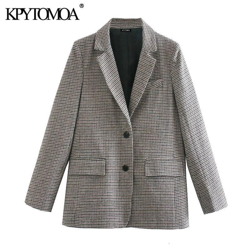 Kpytomoa Donna 2021 Moda con tasche Hundstooth Blazer Blazer Cappotto Vintage Manica Lunga Vento Abbigliamento Abbigliamento Abbigliamento femminile VESTE Femme
