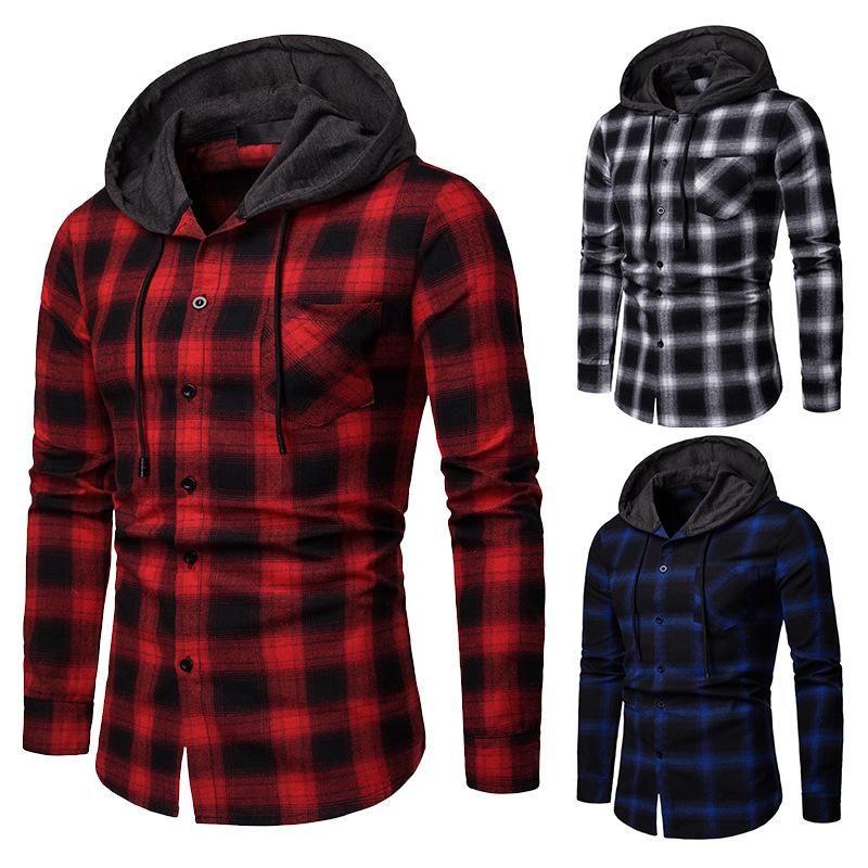 봄과 가을 고품질 유럽 크기 남성 일치 격자 무늬 까마귀 비즈니스 캐주얼 슬림 긴 소매 셔츠