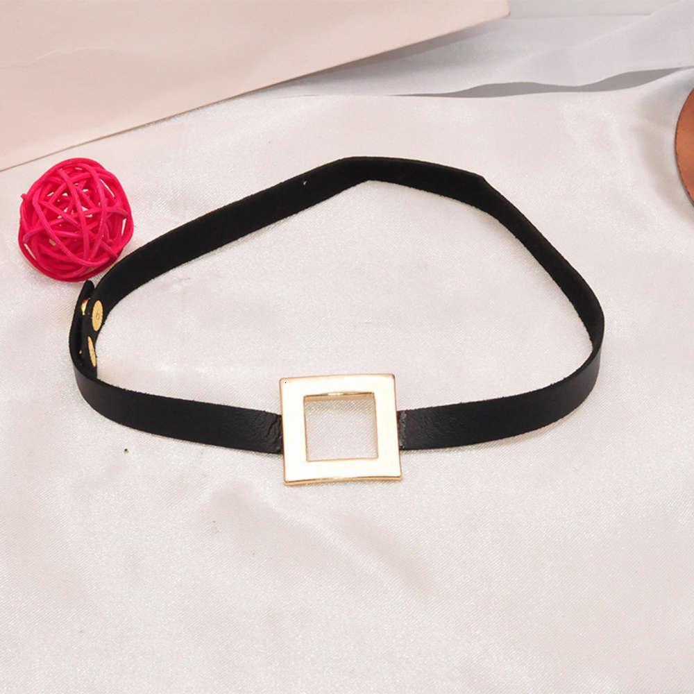 Pulseira de couro quadrado de metal simples Pulseira de couro personalizado gargantilha colar curto colares de pescoço