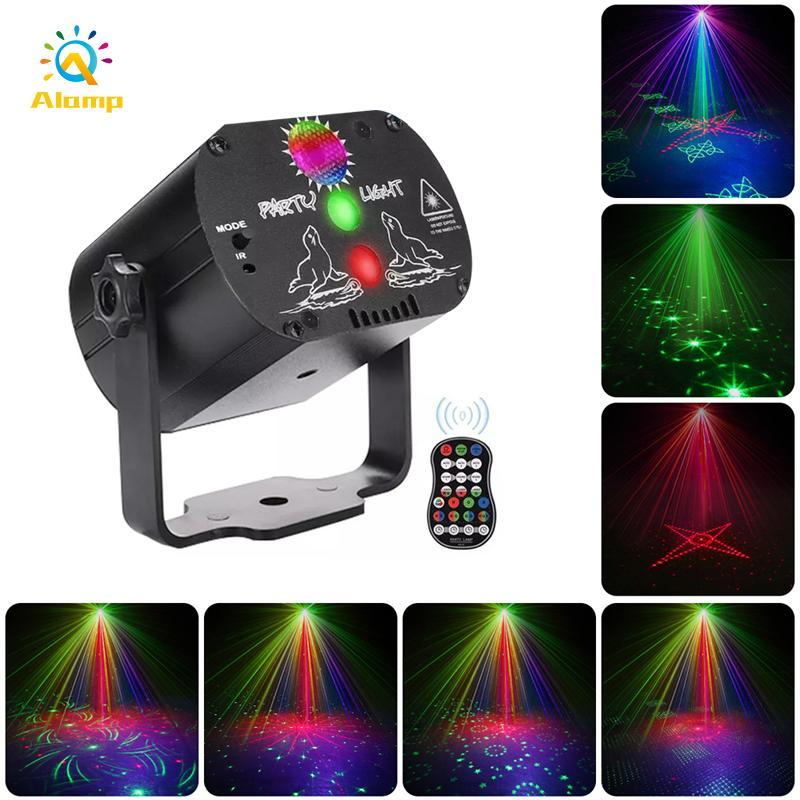 Mini Laser Lighting Lighting RGB Stage Projector Lights 60 Patterns USB Ricaricabile Wedding Birthday DJ Party Disco lampada da discoteca