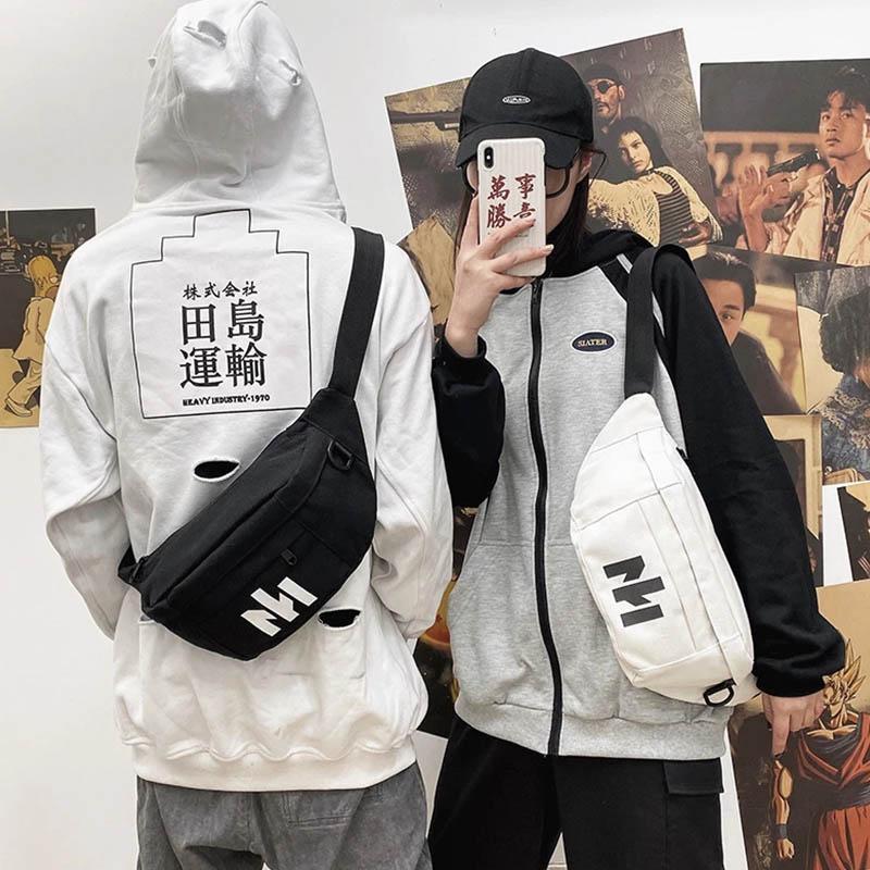 Unisex Waist Bag 2021 Autumn Canvas Chest Street Trend Letters Belt Pack Shoulder Messenger Bags Female Black Fanny