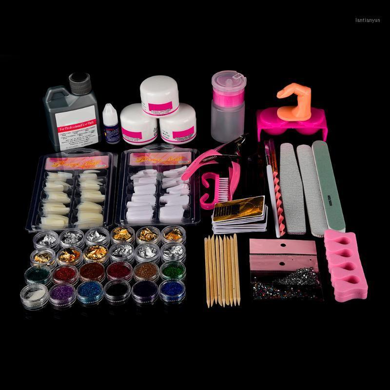 Ongles Art Femme 24pc Bouts d'ongles acryliques Poudre Poudre Liquide Brosse Glitter Clipper File Set KIT120ML CLOU MUJER CHIODO1