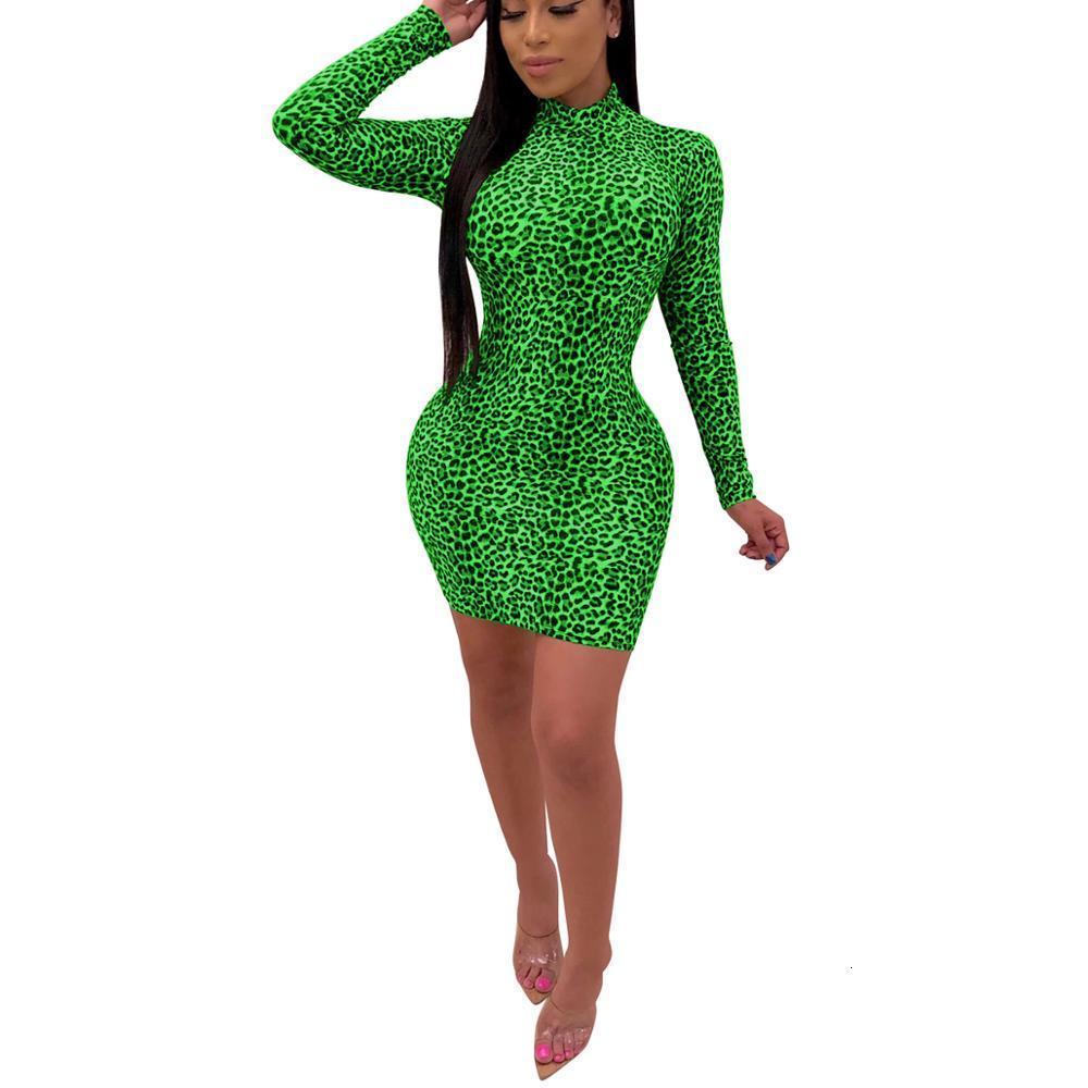 Платья женские сексуальные Leapard Bodycon повседневная клубная вечеринка с длинным рукавом Slim короткое мини-платье