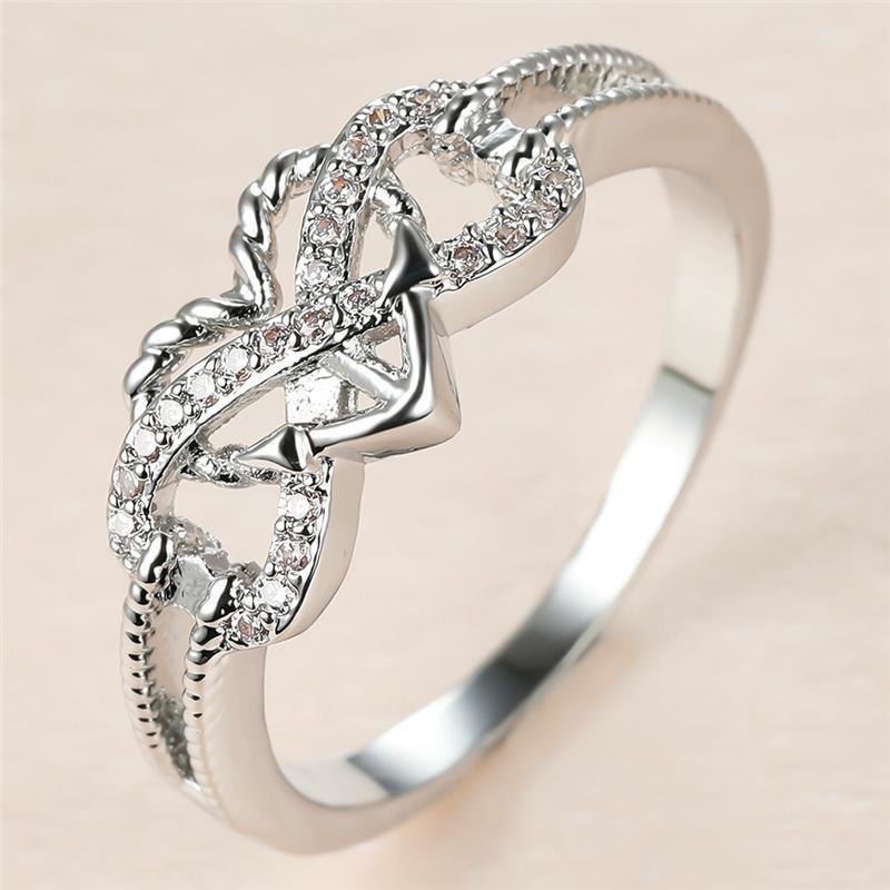 العصرية الإناث الأبيض كريستال حجر حلقة سحر الفضة اللون رقيقة خواتم الزفاف للنساء خمر العروس الحب مشاركة القلب