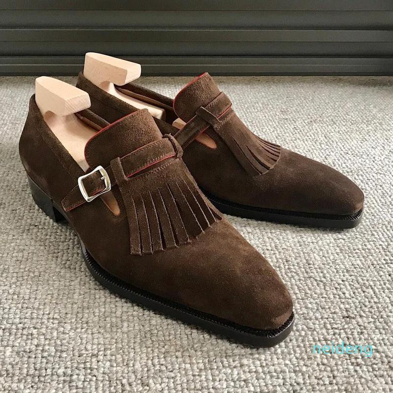2021 homens borlas de sapato primavera primavera outono camurça tessel lado fivela vestido sapatos homens mocassins para homens hg331