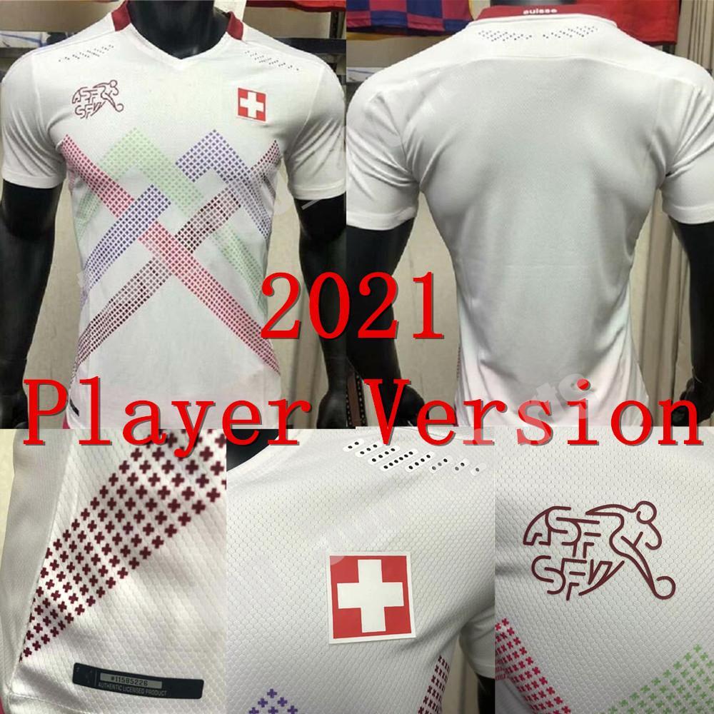 2021 유럽 컵 플레이어 버전 스위스 축구 유니폼 Seferovic Shaqiri embolo behrami reuler 사용자 정의 21 22 Suisse 화이트 축구 셔츠