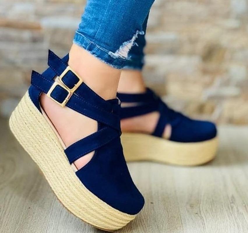 Kadın Sandalet Vintage Kama Ayakkabı Kadın Toka Kayış Saman Kalın Alt Flats Platformu Akın Kadın Yaz 2021 Elbise
