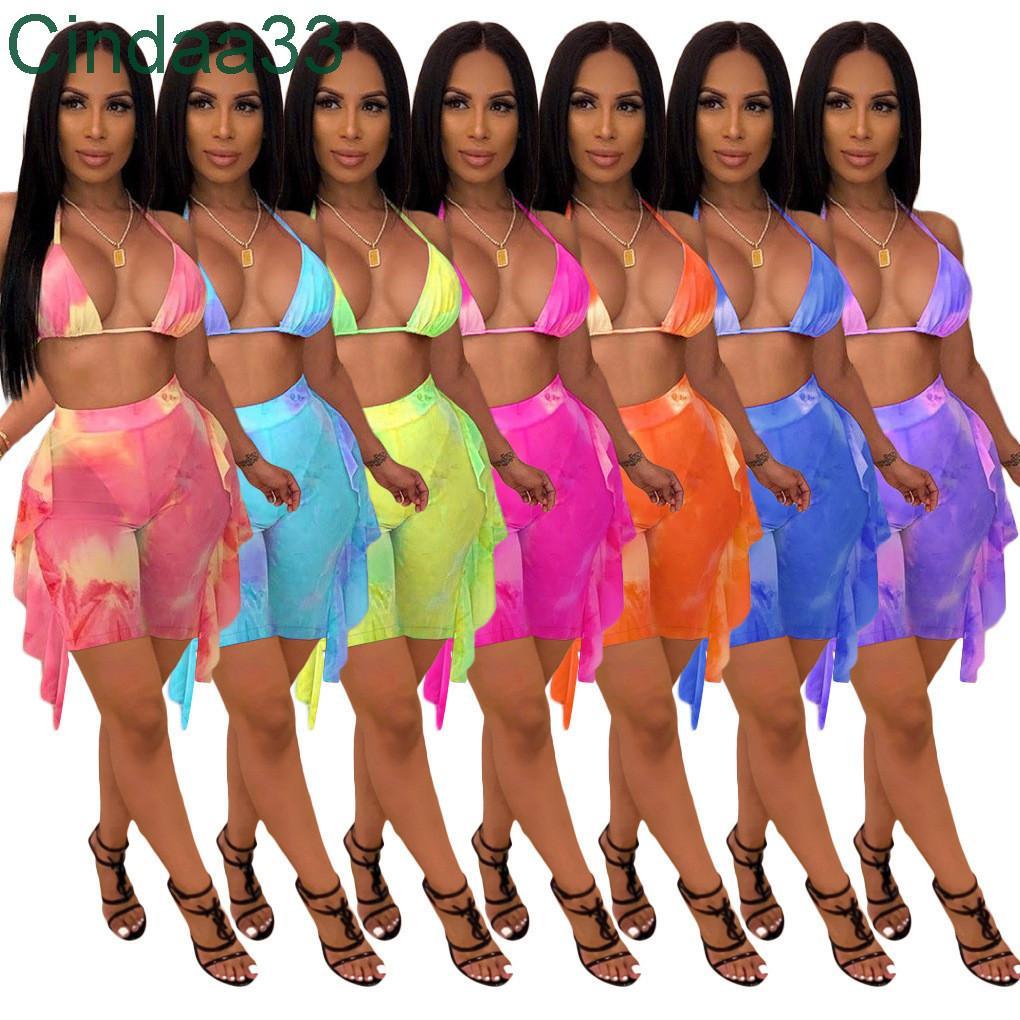 Tasarımcı Bayan İki Adet Set Mesh Mayo Kravat Boya Baskı Mayo Seksi Flounced Push Up Sutyen Halter Üst Ve Pantolon Bikini Suit