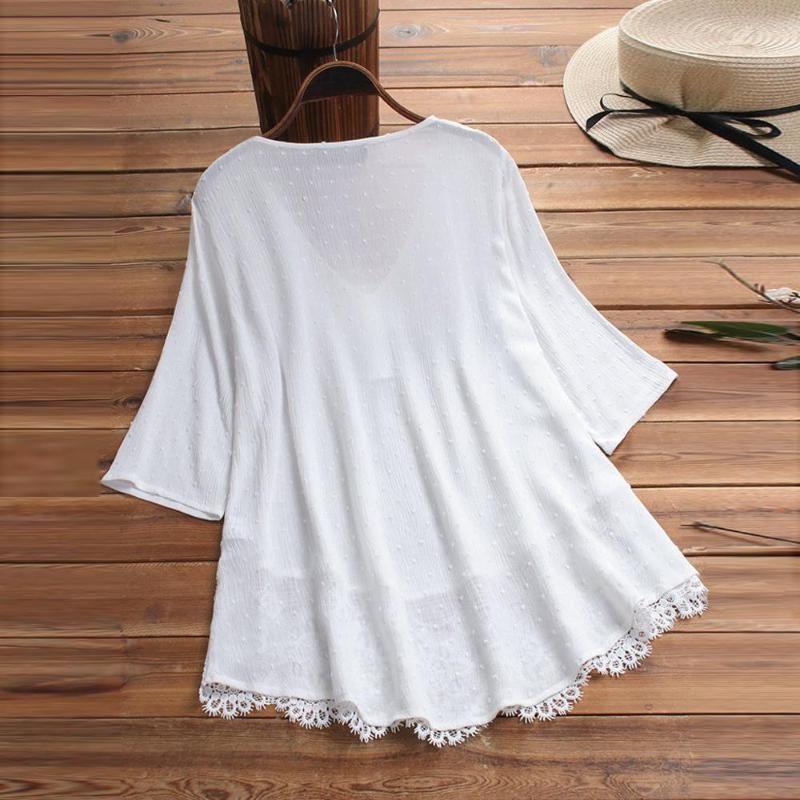 Frauen Blusen Vintage Damen Lässige Kleidung Jacquard Three Quarter Sleeve Spitze V-Ausschnitt Plus Größe Top Shirt Bluse DAMES AD Damenhemden