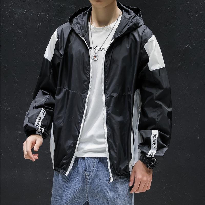 Jaquetas dos homens que costuram o jaqueta do windbreaker mens outono outdoor homens com capuz grandes tamanho grande zíper marca roupas