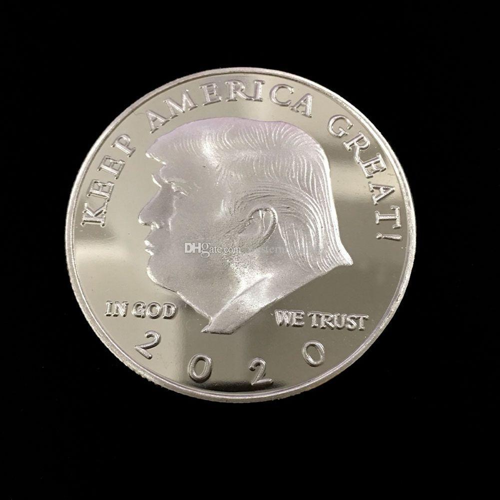 200 pz Donald Trump Gold Gold Argento Arte e Artigianato Artigianato Le monete commemorative rendono America Grande di nuovo 45 ° Presidente Election Metal Badge Coins con souvenir