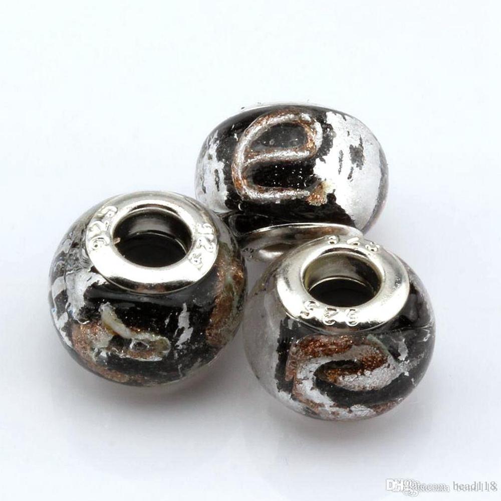 "100 Pcs Black Gold Silver Foil Alphabet ""e"" lampwork Glass Big Spacers Hole Beads Fit Beaded Bracelet"