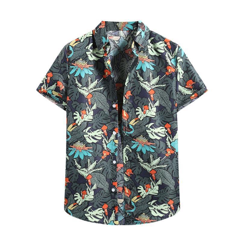남자 여름 셔츠 패션 레트로 남자 캐주얼 옷깃 인쇄 반팔 탑 하와이 블라우스 브랜드 남성 탑스 캐미 사 카마 사