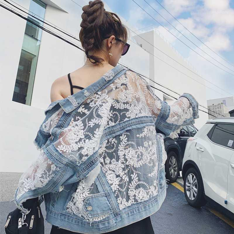 Women Lace Embroidery Oversize Denim Coats Long Sleeve Loose Jeans Coat Fashion Chaquetas Patchwork Perspective Mesh Sexy Jacket1
