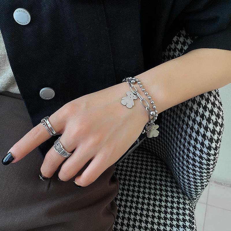 Indiferencia amantes de las mujeres instrucciones coreanas de la moda del nicho de la moda personalidad Simple Sensación de alto nivel Pulsera Fashckqt