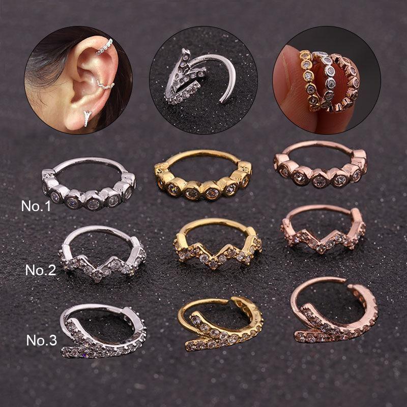 Stud KOMi 1pc Copper Zircon CZ Mini Cartilage Earrings Ear Buckle For Women Female Simple Geometric Piercing Brinco K3982