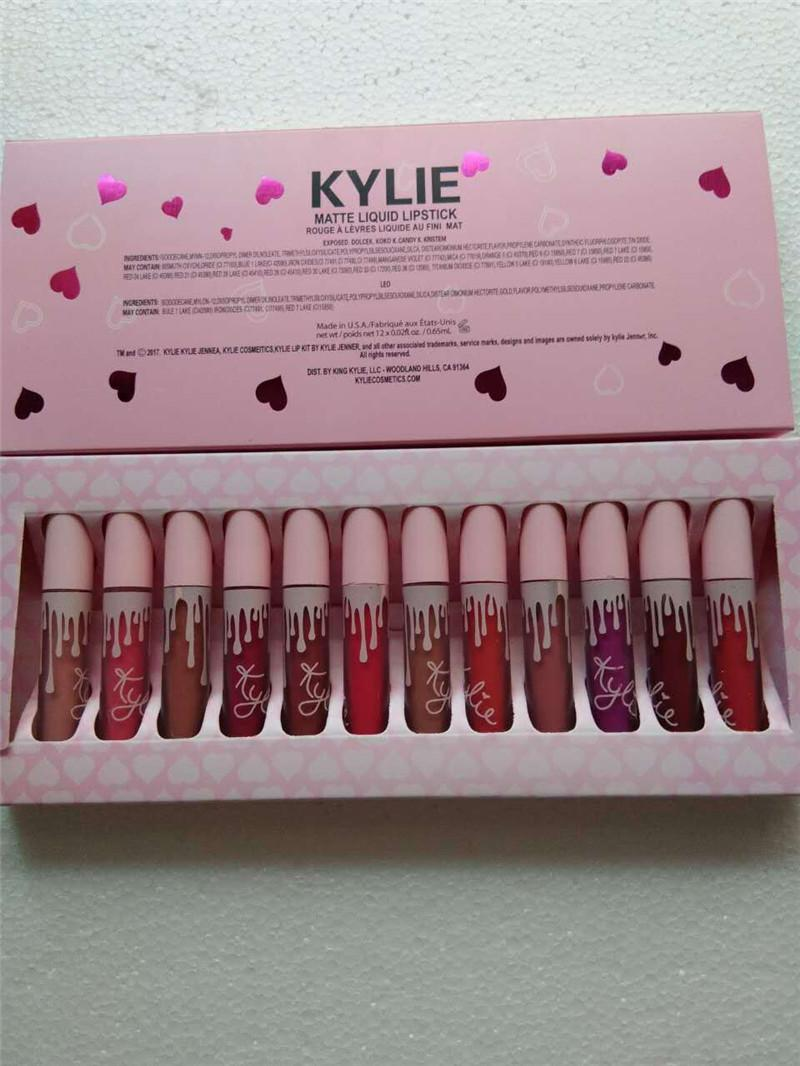 2021 Kylie Güzellik Makyaj Sıvı Mat Dudak Parlatıcısı Uzun Ömürlü Su Geçirmez Ruj Kozmetik 16 Renkler Set