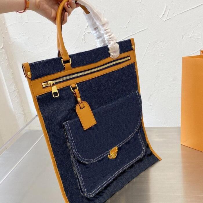 Denim Tuval Çanta En Kaliteli Tasarımcı Klasik Marka Alışveriş Çantaları Kadın Çanta Kılıf Moda Patchwork Renk