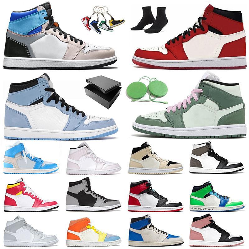 Travis Scott x Fragment x Jordans 1 Retro Off White 1S أحذية كرة السلة للرجال والنساء University Blue Hyper Royal Dark Mocha High Mid Pink Shadow احذية المتدربين الرياضية أحذية