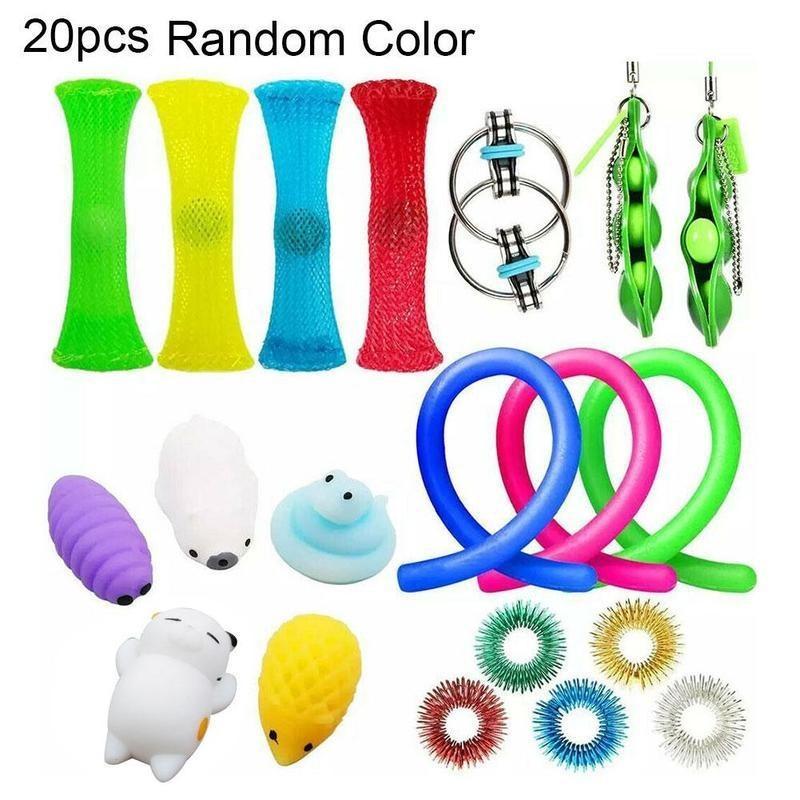 20 pcs Fidget Brinquedos Pack Set Stress Relief Tiros Mão para Adultos Criança Add ansiety Autism Bundle Sensory Brinquedos Aniversário Presentes 210330