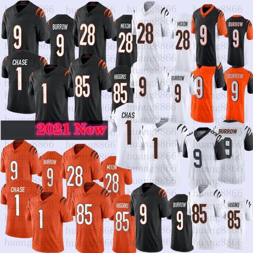 2021 Männer 1 Ja'Marr Chase 9 Joe Burrow 85 Tee Higgins 28 Mixon Football Jersey