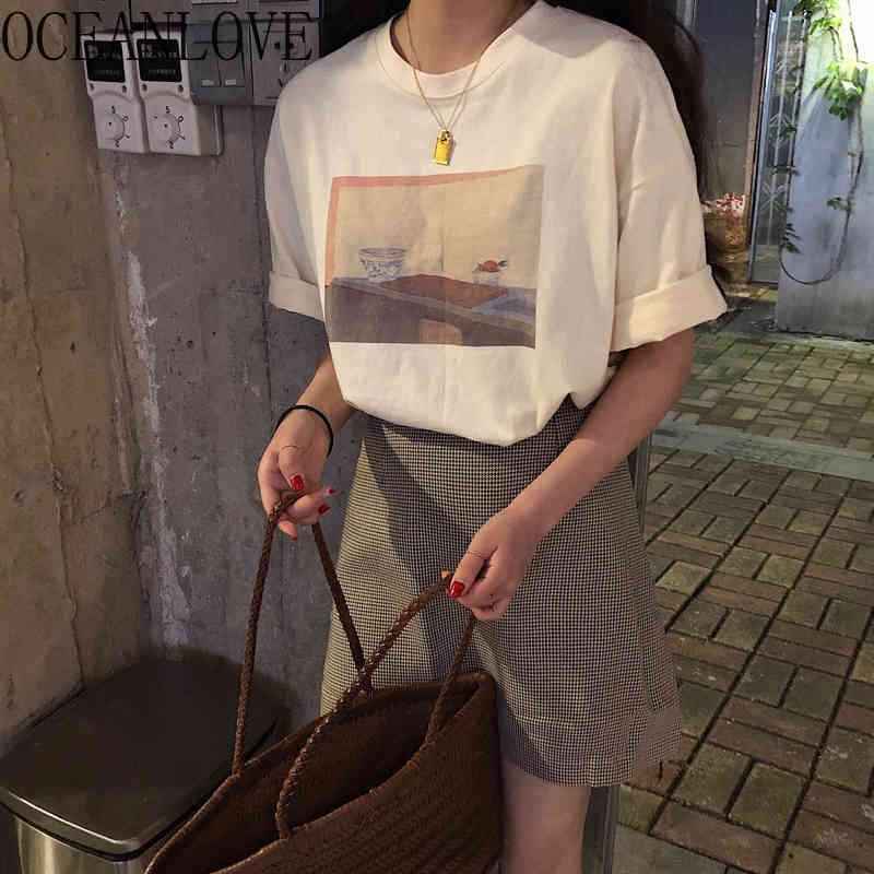 T-shirt de verano de primavera Imprimir Vintage Manga corta Estudiante de moda Mujer camiseta InSos sueltos Mujer Camisetas 19943 210415