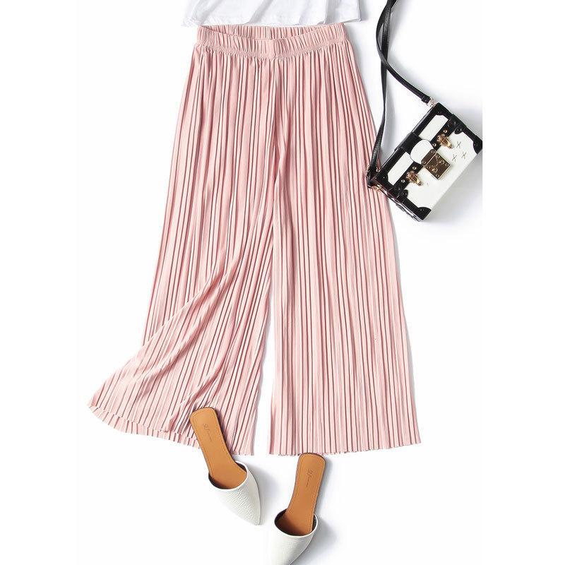 Chiffon de verão mulheres casuais calças largas pernas soltas comprimento de tornozelo plissado fundos de cintura elástica 210519