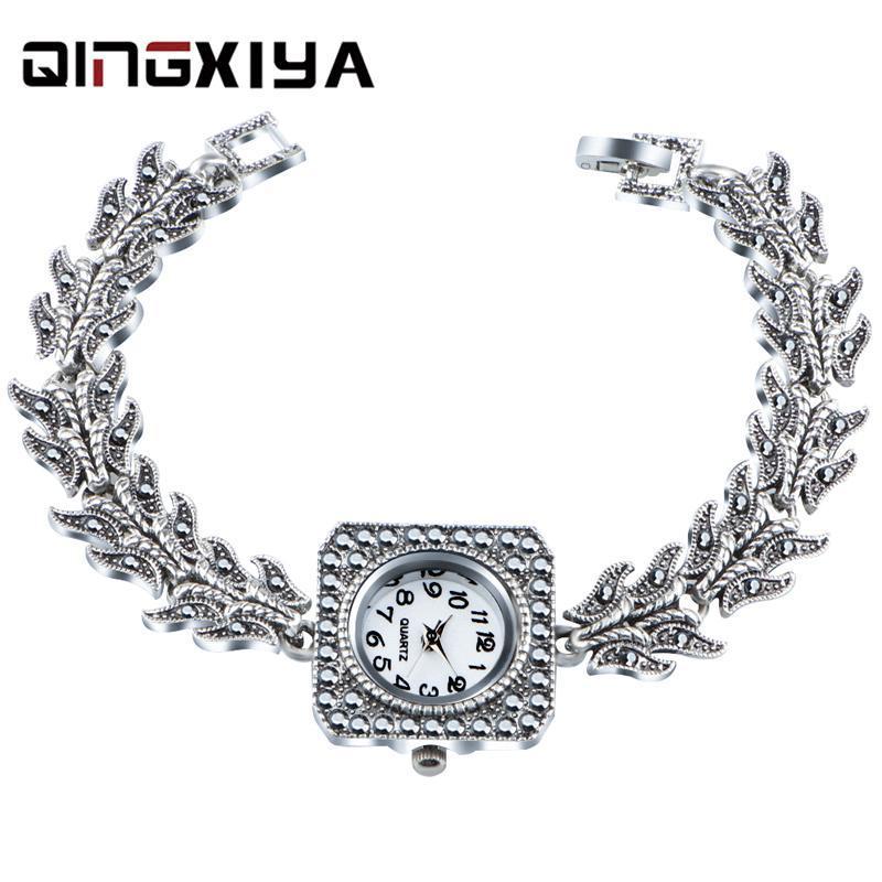 Wristwatches QINGXIYA Ladies Wrist Watches Dress Watch Women Crystal Diamond Quartz Antique Silver Clock Montre Femme