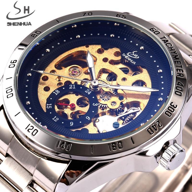 İskelet Otomatik İzle Erkekler Mekanik Saatler Moda Siyah Paslanmaz Çelik Kol Saati Relogio Musculino Saatı