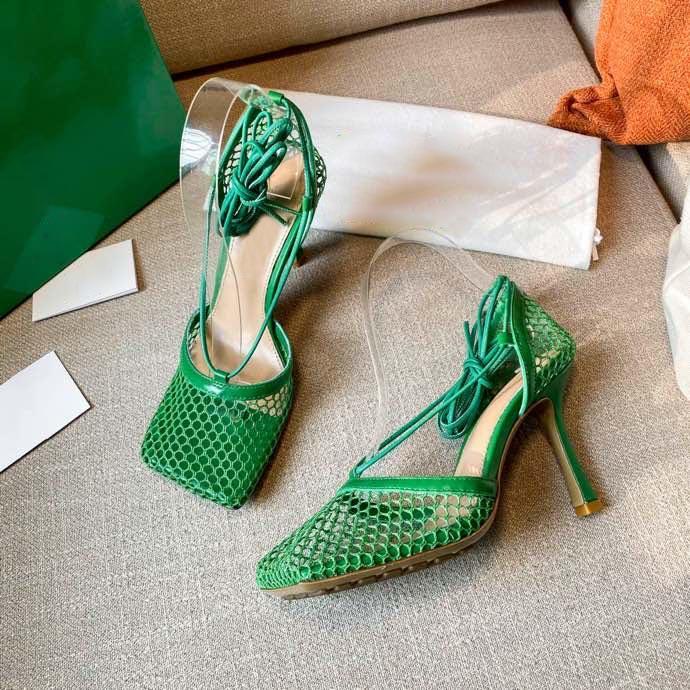 Kişiselleştirilmiş Tasarım Balıkçılık Net Yüksek Topuklu Ayakkabı Yaz Parti kadın Yüksek Topuklu Sandalet Ayak Bileği Lace Up Kare Sandalet Elbise Ayakkabı