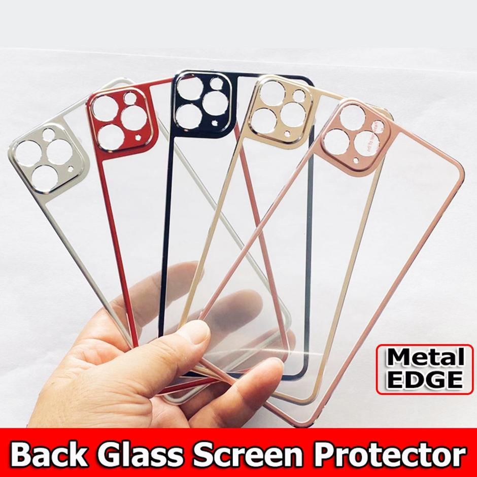 Back Glass screen protector for iphone 12 iphone 11 pro max xr xs max 6 7 8 plus Titanium alloy Metal Edge Tempered Glass Screen Protector