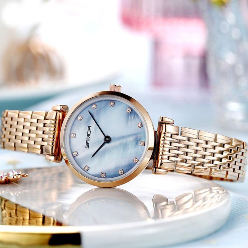 Mode Marke Diamant Frauen Armbanduhr 2021 Slim Wasserdichte Edelstahl Quarz Armbanduhren Business Clock