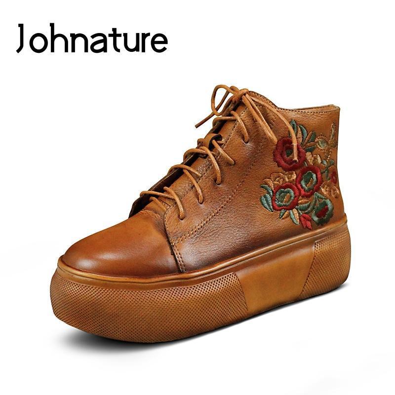 Stiefel jegatur 2021 frühling / herbst echtes leder retro runde spitze schnelle stickerei massiv flach knöchel für frauen plattform