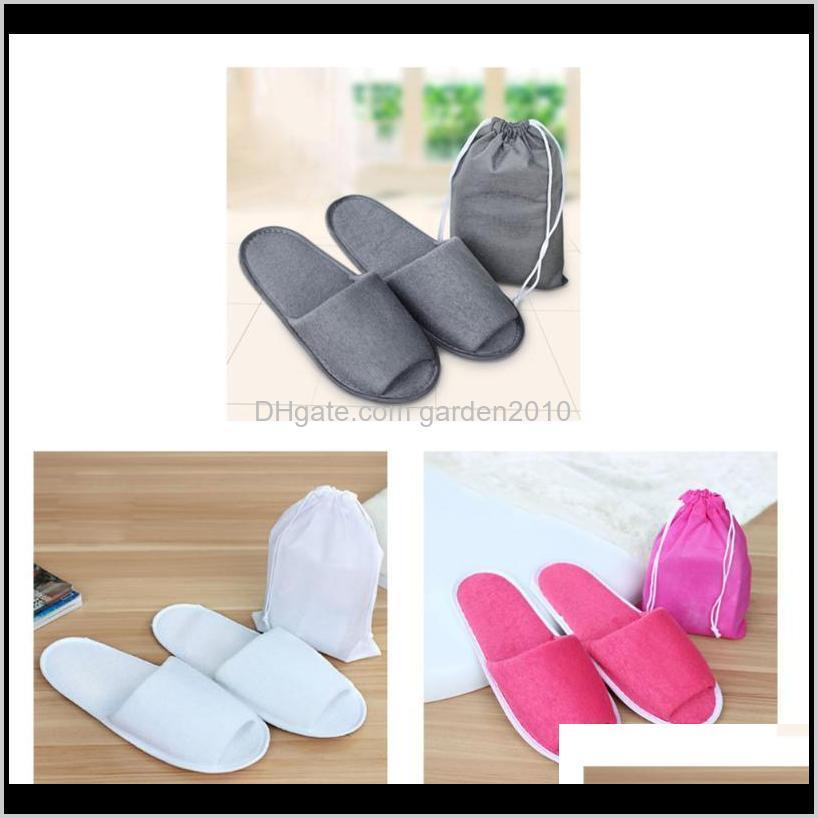 Bags Housekeeping Organization & Garden Drop Delivery 2021 1Pair Simple Men Women El Travel Spa Portable Folding Slippers With Storage Bag Ho