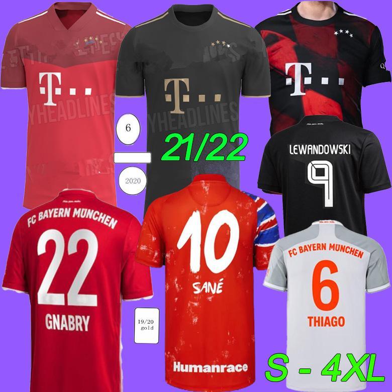 S-4XL Bayern Jersey 2022 Lewandowski Sane Munique Coman Muller Davies Camisa de Futebol 2021 Humanrace Quarto 4º