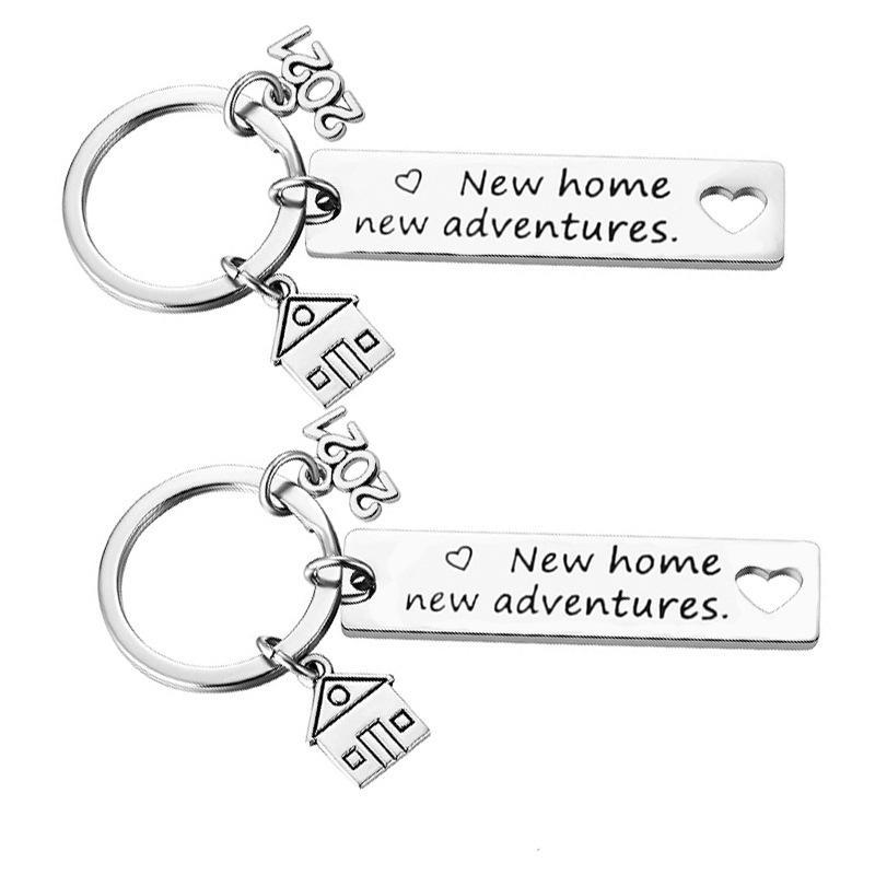 2021 الفولاذ المقاوم للصدأ housewarming سلسلة المفاتيح قلادة الأسرة الحب الحلي الإبداعية منزل الأمتعة الديكور مفتاح الدائري 12 * 50 ملليمتر