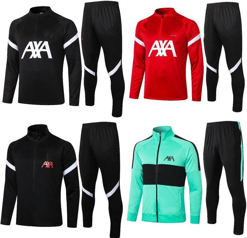 Liverpool Tracksuit 2021 M. SALAH Full Zip Jacket Soccer Training Suit 20 21 PRE-MATCH Football Winter Pants Kit