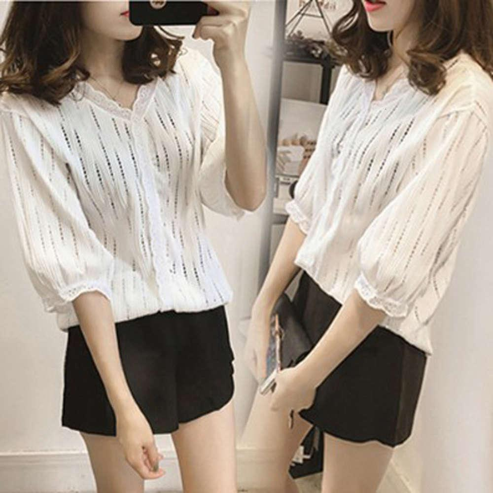 t Shirts Loose Large Base Women's Korean Hollow Out Temperament Short Lace Fashion