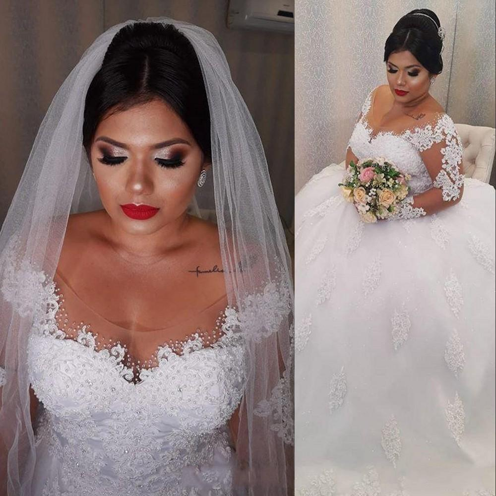 2017 barato simples a line vestidos de casamento v profundo neck mangas compridas ilusão rendas apliques de organza plus size sweep trem formal vestidos de noiva